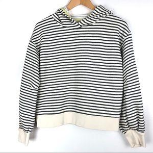 Lou & Grey hoodie Medium black white stripes o611